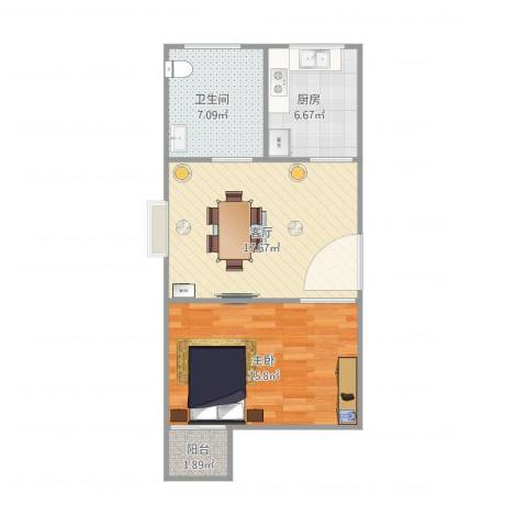 丽泽荷亭苑A3型52.78平方1室1厅1卫1厨66.00㎡户型图