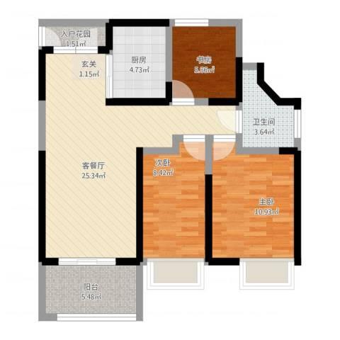 万科公园大道3室1厅1卫1厨97.00㎡户型图