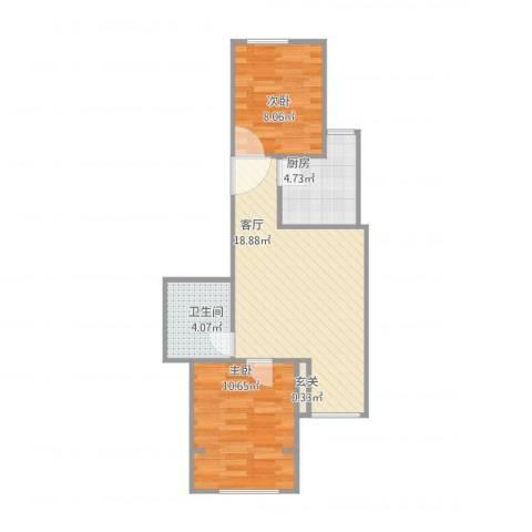 方南家园2室1厅1卫1厨53.00㎡户型图