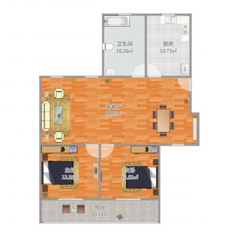 莲溪六村2室1厅1卫1厨130.00㎡户型图