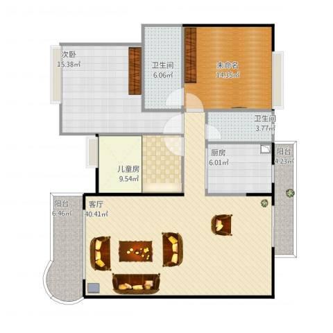 楼村花园2室1厅3卫1厨143.00㎡户型图