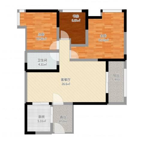望龙东郡3室1厅1卫1厨114.00㎡户型图