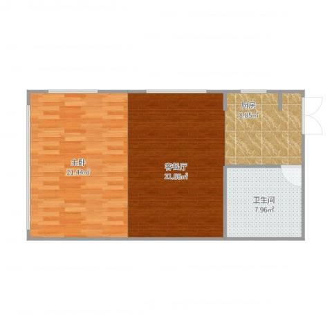 辰龙广场1室1厅1卫1厨77.00㎡户型图
