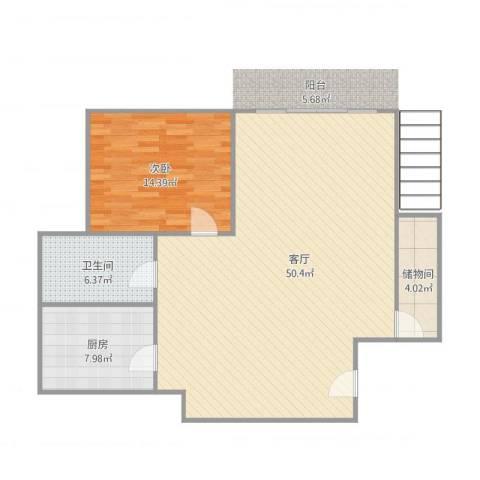 清溪花园1室1厅1卫1厨110.00㎡户型图