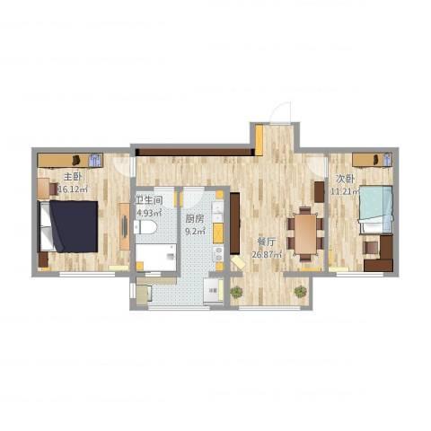 青年公寓・红桥区2室1厅1卫1厨76.48㎡户型图