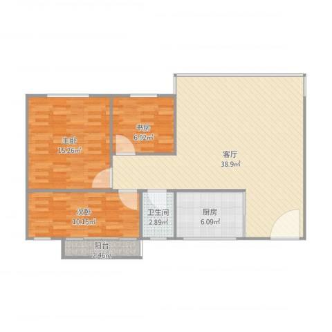 碧翠雅轩3室1厅1卫1厨111.00㎡户型图
