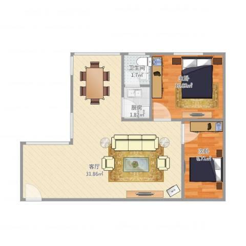 龙城花园2室1厅1卫1厨70.00㎡户型图