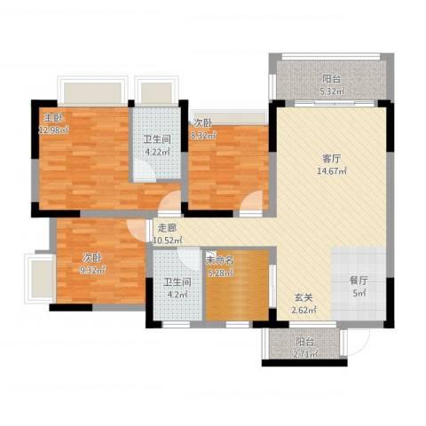 美丽湾畔花园3室1厅2卫1厨123.00㎡户型图