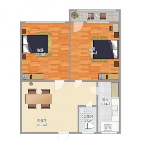 无影山新村2室1厅1卫1厨88.00㎡户型图
