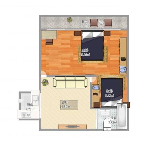 海滨三村2室1厅1卫1厨62.00㎡户型图