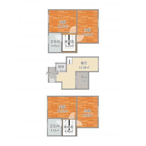 汇银环湖国际4室1厅2卫1厨117.00㎡户型图