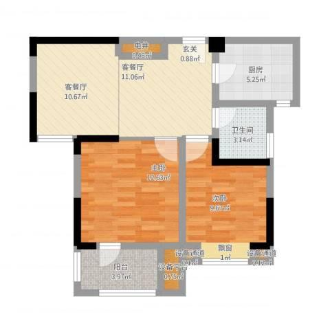 中冶枫树湾2室2厅3卫3厨82.00㎡户型图