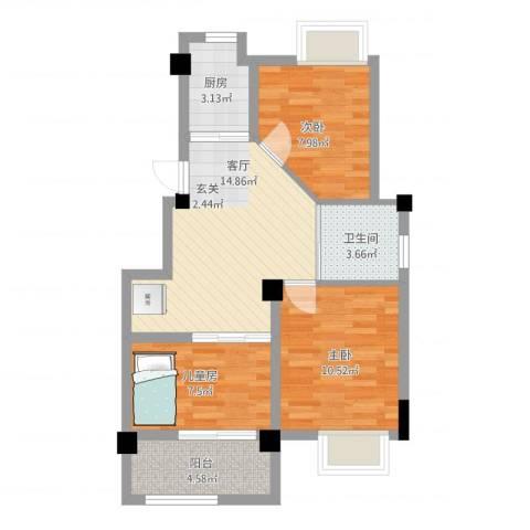 澳海胥江湾3室1厅1卫1厨77.00㎡户型图