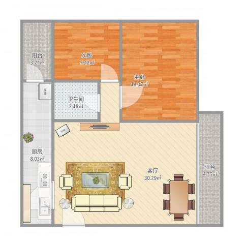 罗湖花园怡安楼701房2室1厅1卫1厨96.00㎡户型图