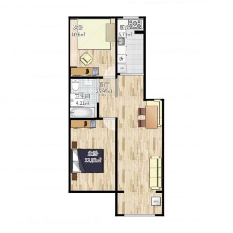 五棵松26号院2室1厅1卫1厨80.00㎡户型图