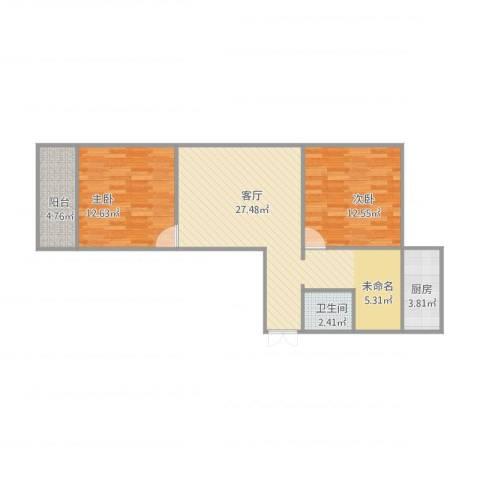 重减小区2室1厅1卫1厨86.00㎡户型图