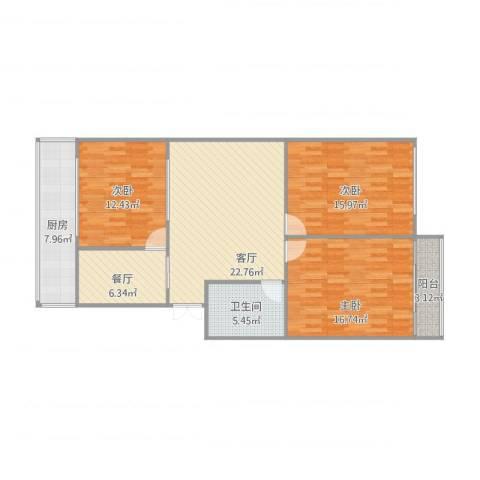 重减小区3室2厅1卫1厨122.00㎡户型图