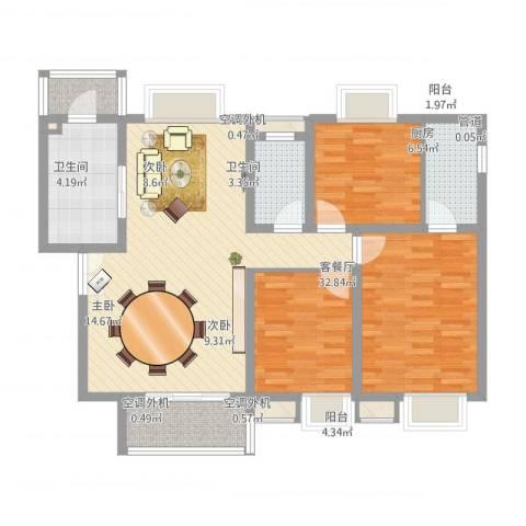 恒基雍景新城3室1厅2卫1厨127.00㎡户型图