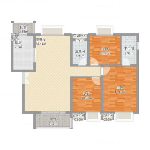 恒基雍景新城3室1厅2卫1厨148.00㎡户型图
