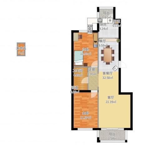 凯帝斯广场2室1厅1卫1厨100.00㎡户型图