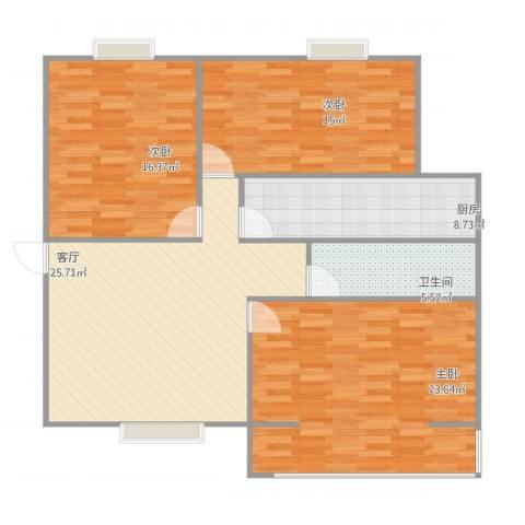 绿城逸水苑3室1厅1卫1厨127.00㎡户型图