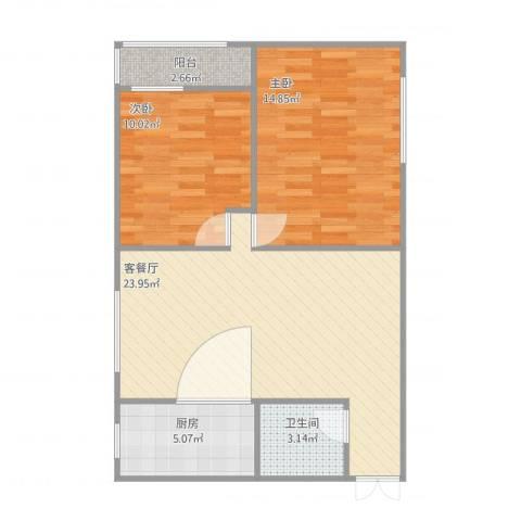 紫云小区2室1厅1卫1厨81.00㎡户型图
