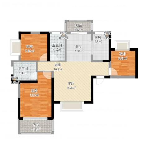 紫薇东进3室1厅4卫2厨109.00㎡户型图
