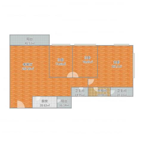 中怡城市花园F-03户型3室1厅2卫1厨963.00㎡户型图