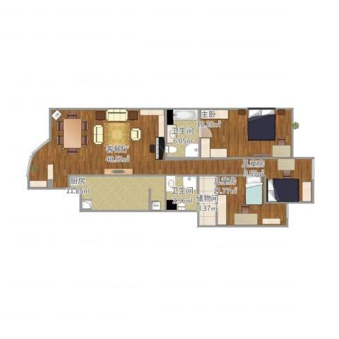 水上华城3室1厅2卫1厨144.00㎡户型图