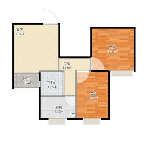 荣泰河庭2室1厅1卫2厨61.00㎡户型图