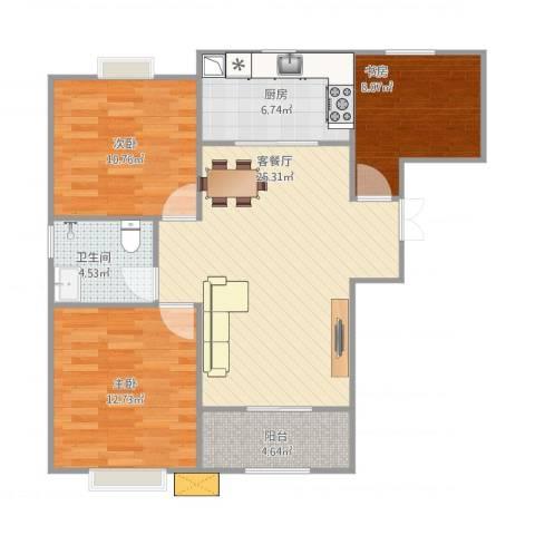 利港银河广场3室1厅1卫1厨98.00㎡户型图