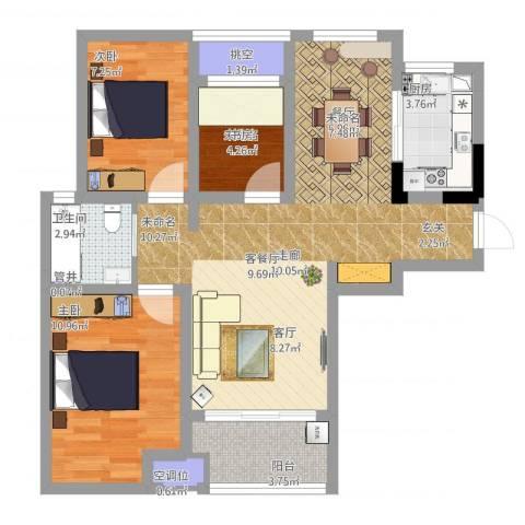 新城春天里2室1厅2卫2厨93.00㎡户型图