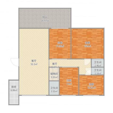 创鸿水韵尚都3栋01024室2厅3卫1厨239.00㎡户型图