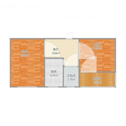 南顶村2室1厅1卫1厨83.00㎡户型图