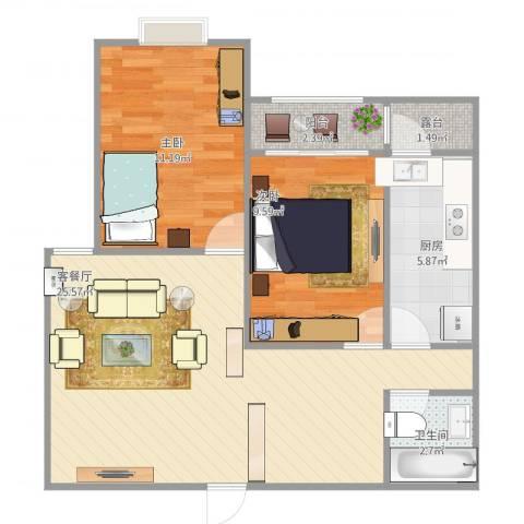 龙溪香岸2室1厅1卫1厨80.00㎡户型图
