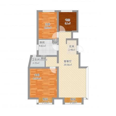 万科蓝山3室1厅1卫1厨98.00㎡户型图