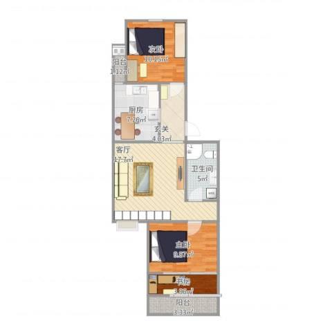 青塔东里小区3室1厅1卫1厨86.00㎡户型图