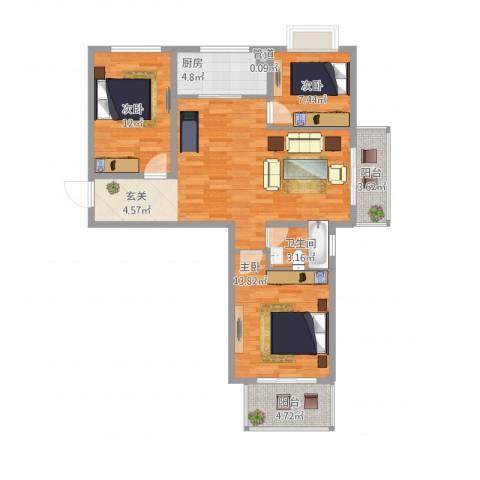 教授花园二期3室1厅2卫1厨112.00㎡户型图