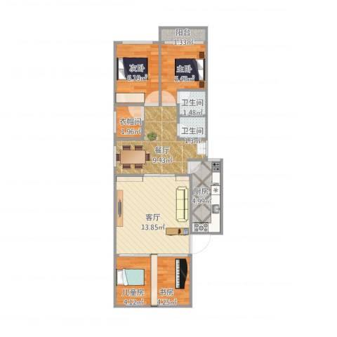 津泰新村4室2厅2卫1厨75.00㎡户型图