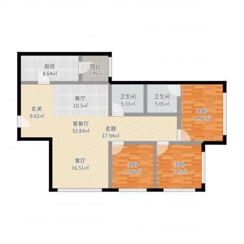 福莱花园3室1厅2卫1厨160.00㎡户型图