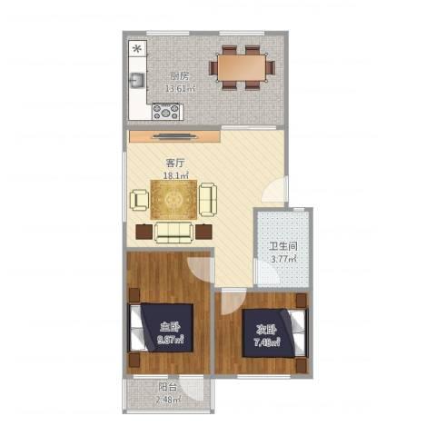 太平洋小区2室1厅1卫1厨75.00㎡户型图