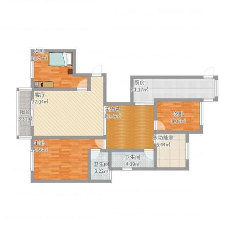常熟尚湖中央花园3室1厅3卫1厨144.00㎡户型图