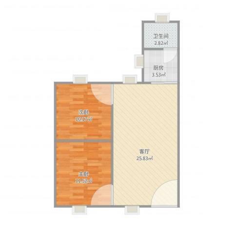 农垦总局大院2室1厅1卫1厨57.68㎡户型图