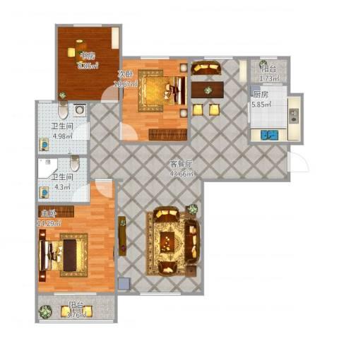 丽景蓝湾C区3室1厅2卫1厨131.00㎡户型图