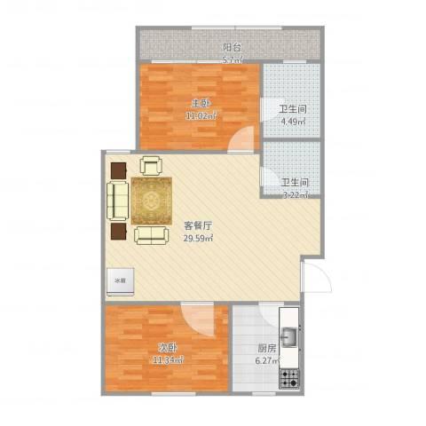 龙岱花园2室1厅2卫1厨96.00㎡户型图