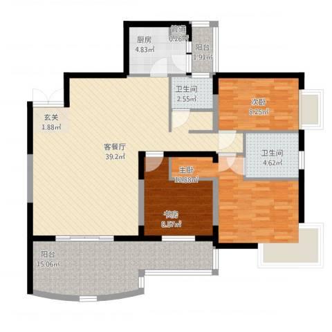 丽都大厦3室1厅3卫1厨140.00㎡户型图