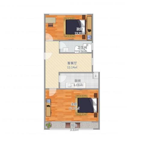 由由一村167弄47号2室1厅1卫1厨77.00㎡户型图