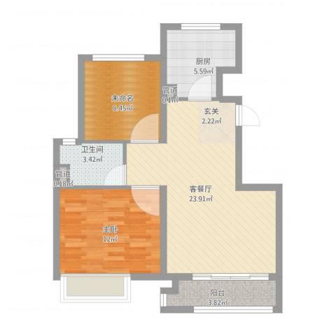 象屿上海年华1室1厅1卫1厨83.00㎡户型图
