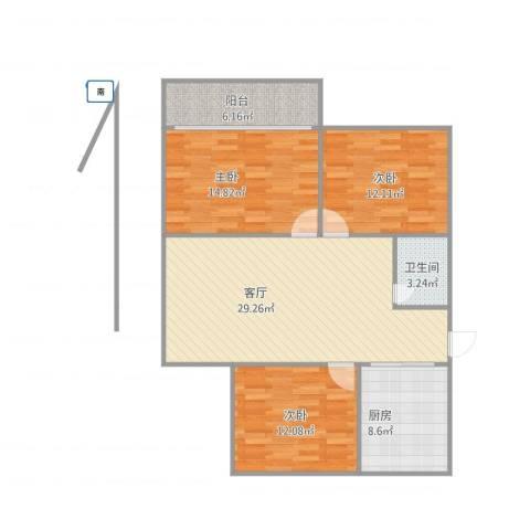 清河新寓二村3室1厅1卫1厨115.00㎡户型图
