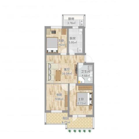 西罗园15号3室1厅1卫2厨101.00㎡户型图